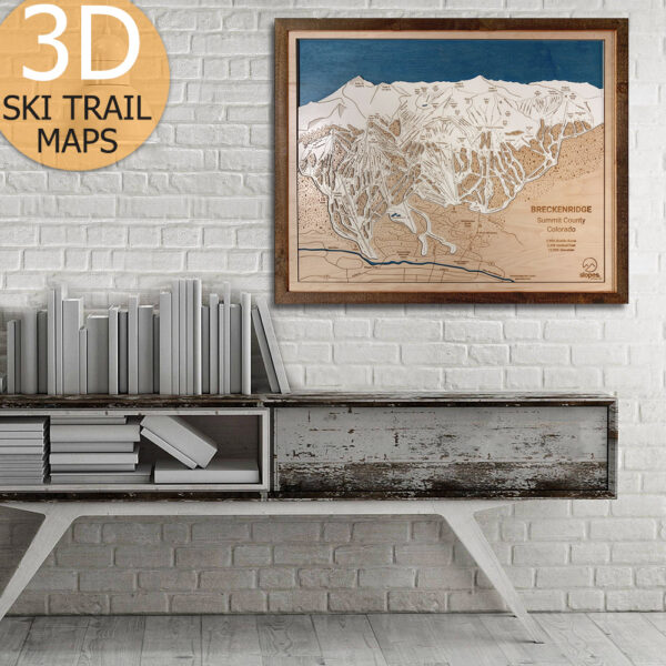 Breckenridge Colorado Ski Trail Map, 3D Wooden Framed Art