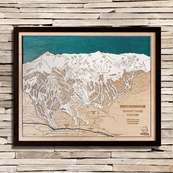 Breckenridge Trail Map, 3D Wood Map, Black Wood Frame