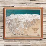 Breckenridge Trail Map, 3D Wood Map, Natural Cherry Wood Frame