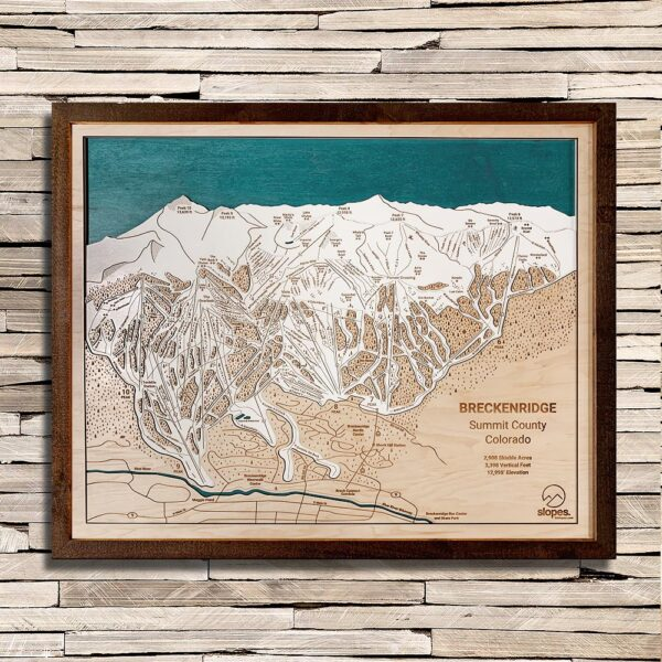 Breckenridge Trail Map, 3D Wood Map, Rustic Frame