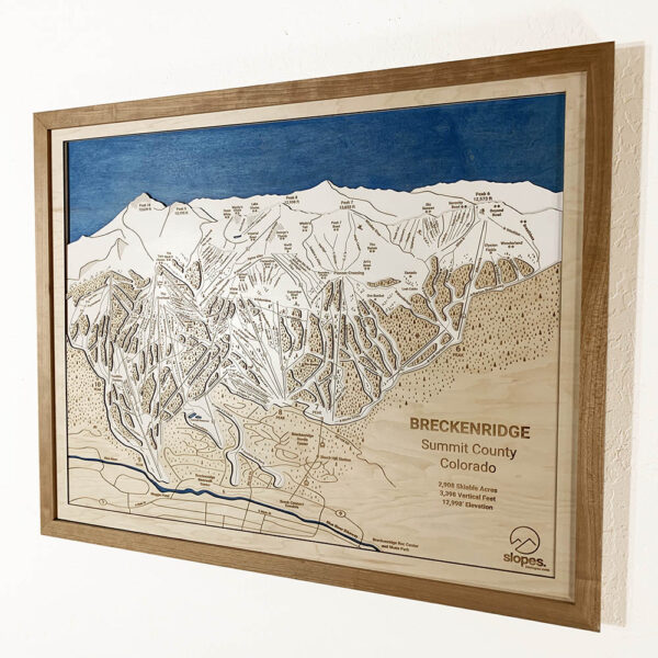 Breckenridge Trail Map, 3D Wooden Ski Trail Map of Breckenridge