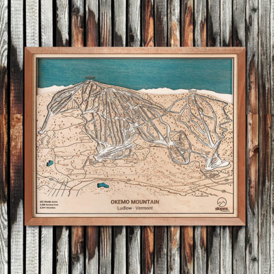 Okemo Mountain Map Art, Okemo VT Ski Trail Map, Gift for Skiers, Vermont Skiing