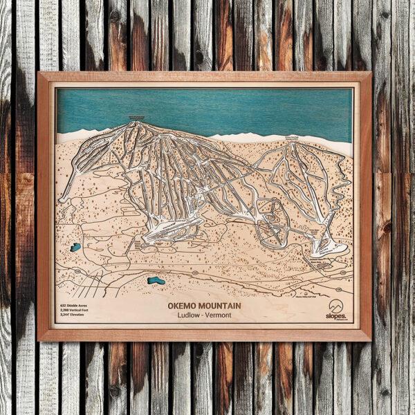 Okemo Mountain Map Art, Okemo VT Ski Trail Map, Gift for Skiers, Vermont Skiing