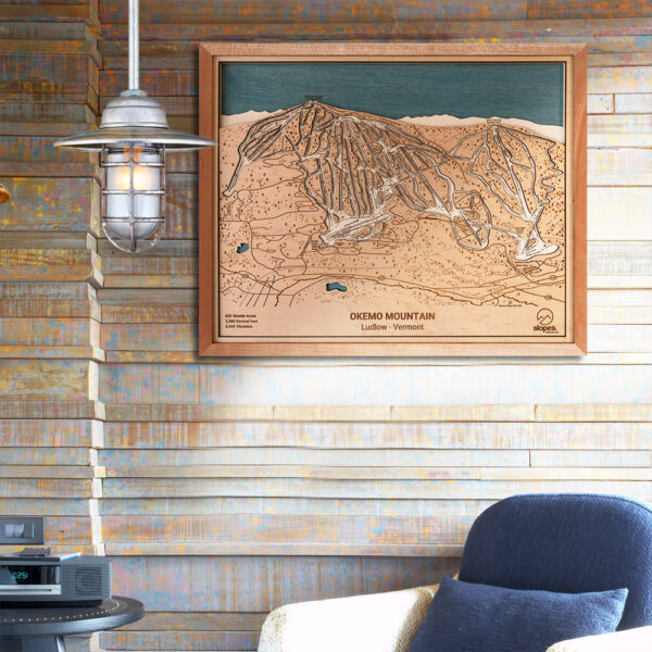Okemo Mountain Map, Okemo VT Ski Trail Map, Gift for Skiers, Vermont Skiing