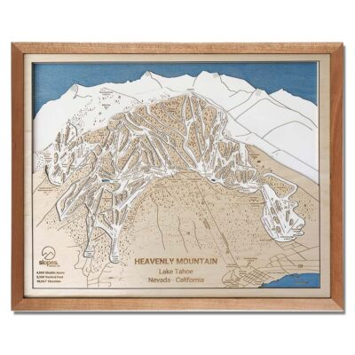 Heavenly Mountain Ski Trail Map with Natural Cherry Frame