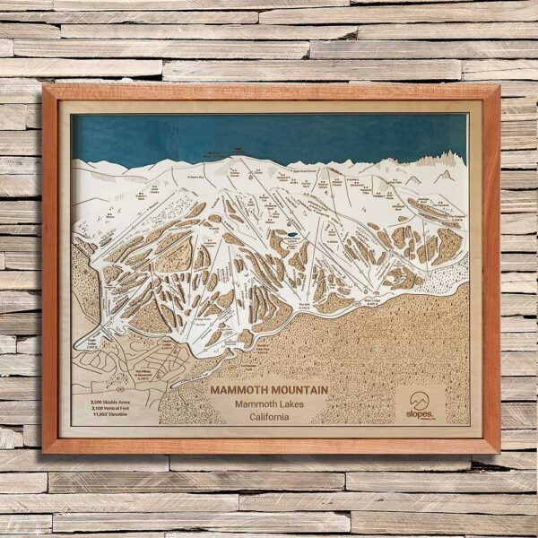 Wooden Mammoth Mountain Trail Map in 3D