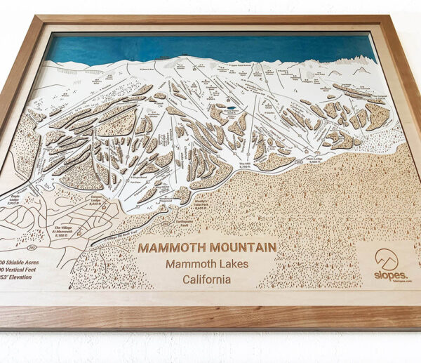 Mammoth Mountain Trail Map - Wooden Ski Trail Art