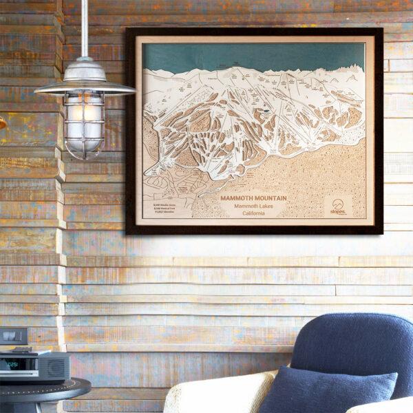 Mammoth Mountain Trail Map Art- 3D Wood Ski Trail Map