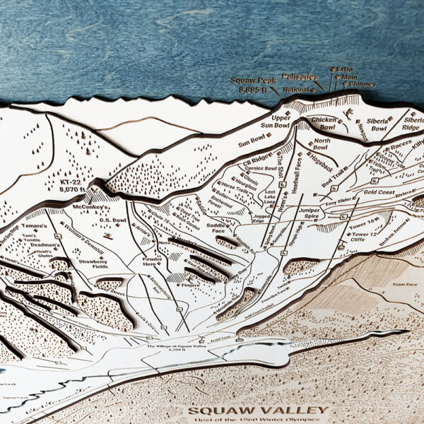 Squaw Valley Map, Squaw Valley 3D Ski Trail Map, Alpine Meadows