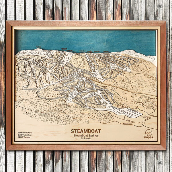 Steamboat Map, Steamboat Springs Ski Trail Map, 3D Wooden Map, Ski Art