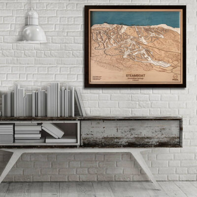 Steamboat Map Art, Steamboat Springs Ski Trail Map, 3D Wooden Map, Ski Art