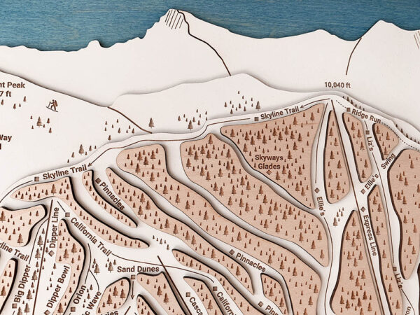 Heavenly Mountain Map, 3d wood map of Heavenly Ski Trails