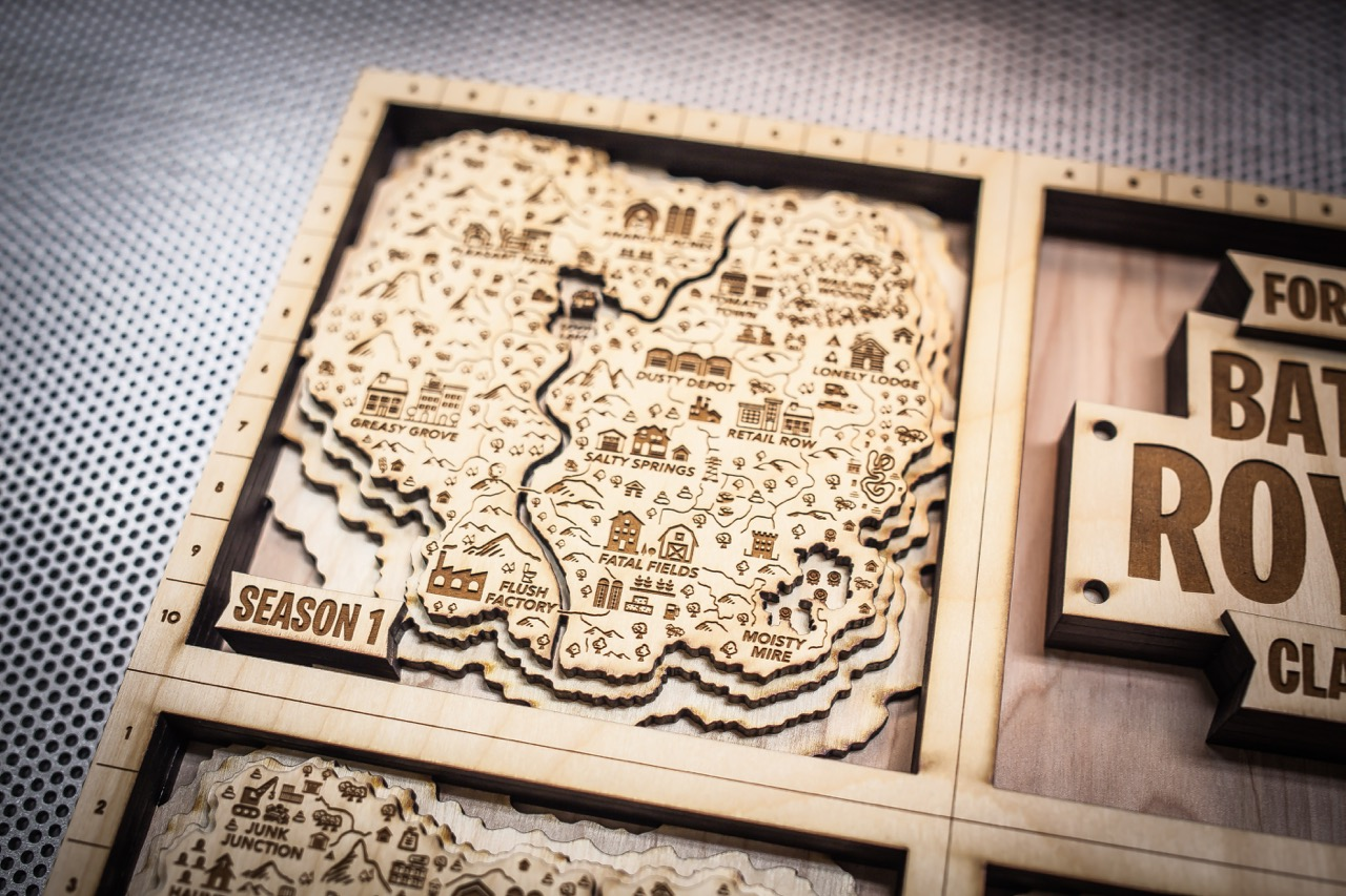 Wooden Large wooden fort nite latest wall art map