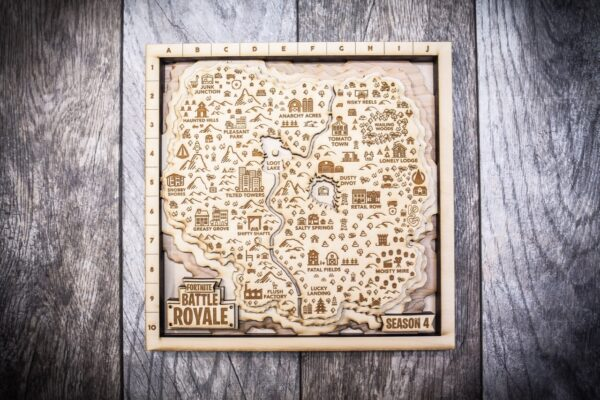 Fortnite Battle Royale Map, 3D Wood Map