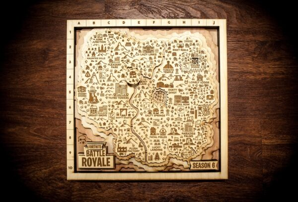 Fortnite 3D Wooden Map, Magnetic, Wall Art