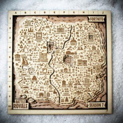 Fortnite Season 7 Wooden Map, Fortnite Fan Map, Home Decor