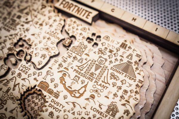 Fortnite Season Nine Wooden Map, Fortnite Fan Map, Home Decor