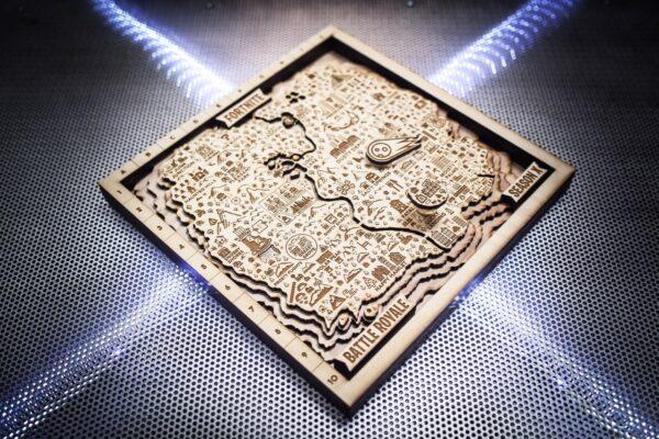 Season X Fortnite Game Wooden Map, 3D Art