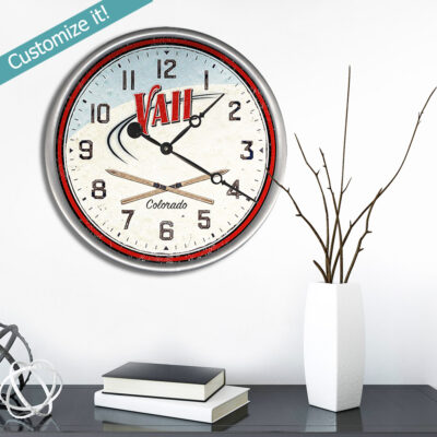Personalized Wood Clock with Vail Colorado Vintage Ski Art