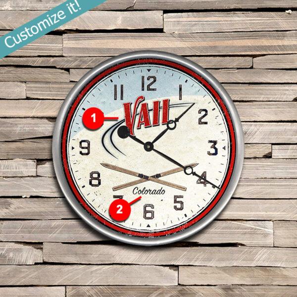 Lodge Decor, Personalized Wood Clock of Vail Colorado, Ski Art