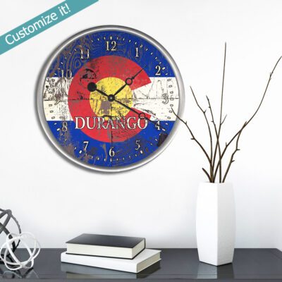 Custom Colorado Flag Wood Clock with custom text