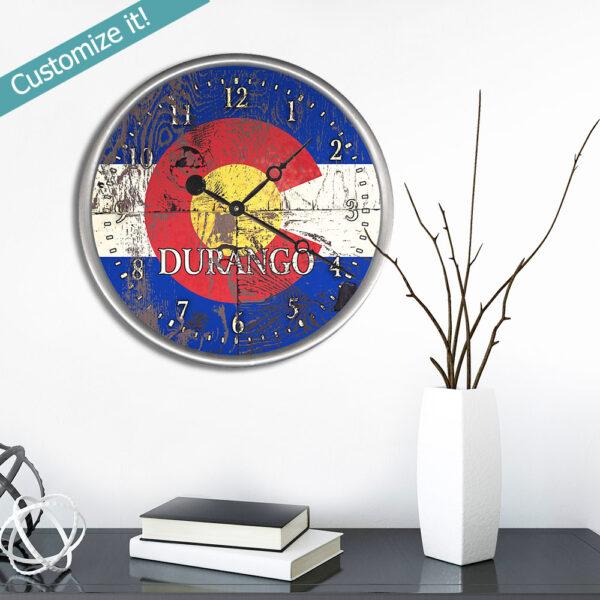 Custom Colorado Flag Wood Clock with custom text