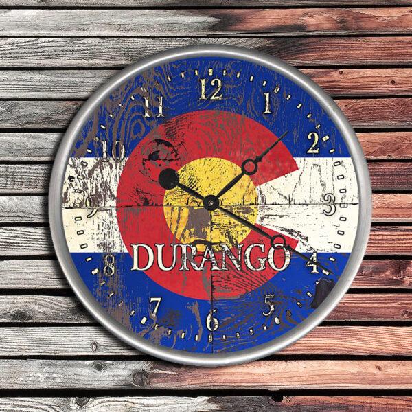Personalized Colorado State Flag Wood Clock, Cabin Decor, Mountain Lodge Decor