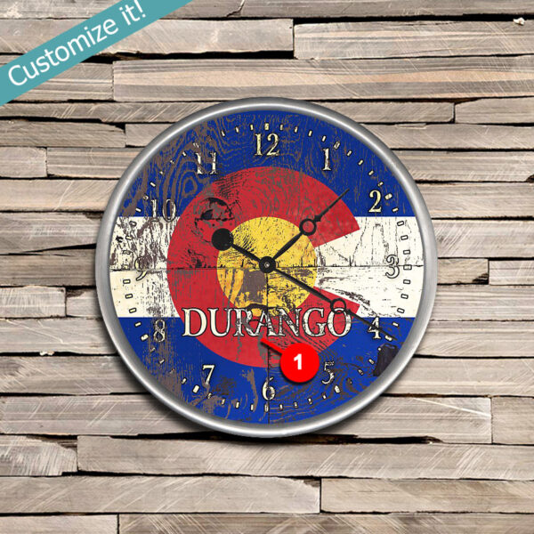 Customized Colorado Flag Wood Clock