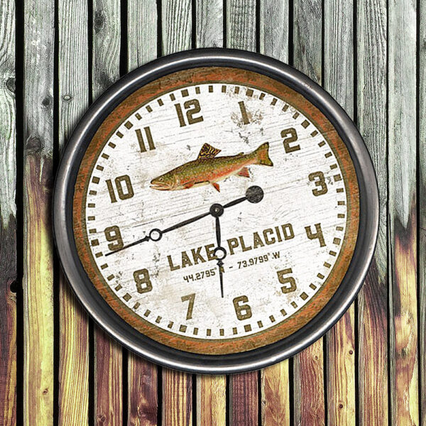 Personalized Trout Fishing Wooden Clock