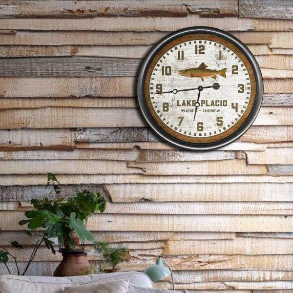 Custom Lake Placid Trout Fish Clock, Cabin Decor, Fishing Gifts