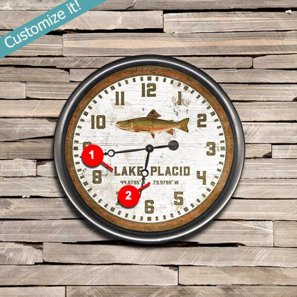 Custom Lake Placid Trout Clock