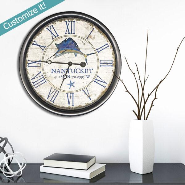 swordfish art, nantucket clock, coastal decor