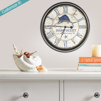 personalized nautical decor, nantucket wooden clock, beach house gifts