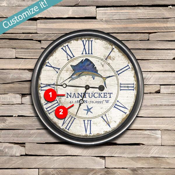 nantucket clock, nantucket beach house decor, swordfish art