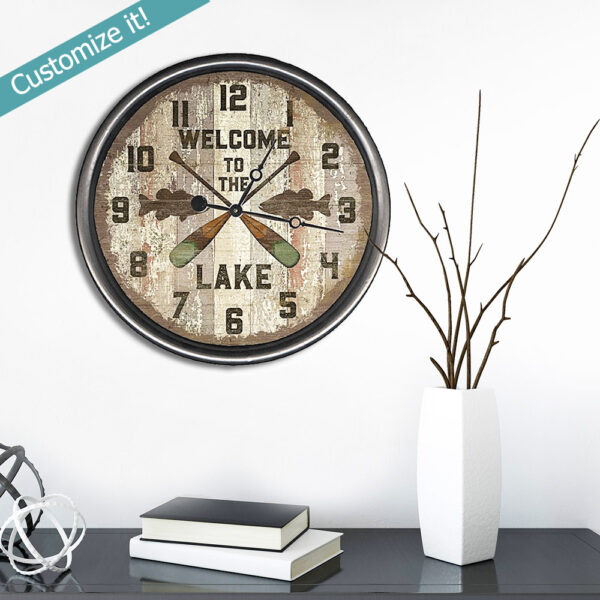 Personalized Lake House decor, wood welcome to the lake clock