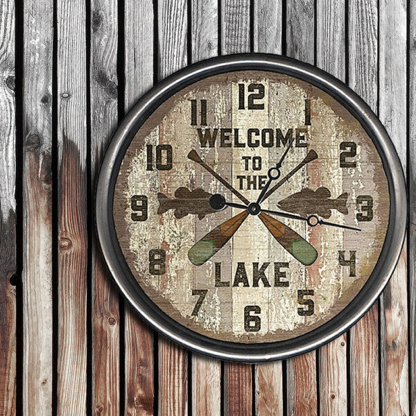 Retro, Rustic Welcome to the Lake Clock