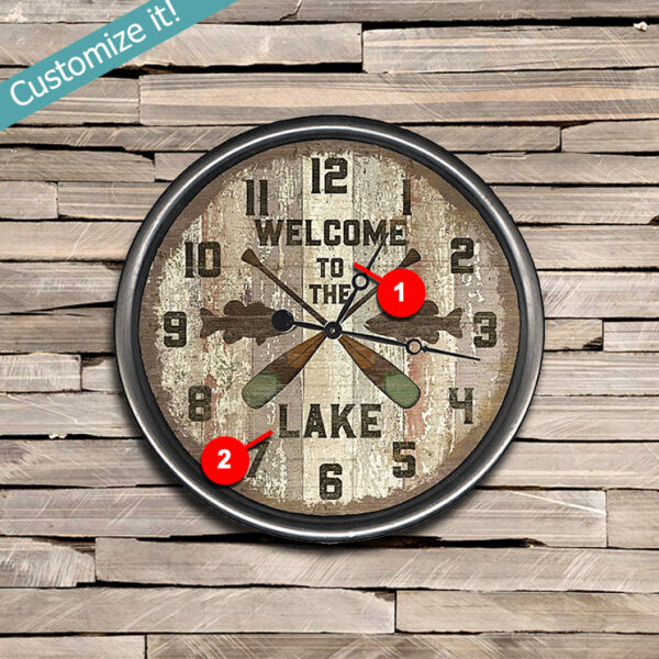 Custom Welcome to the Lake Wood Clock, Fishing and Oars, Lake House Decor