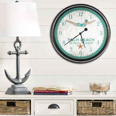 Custom Nautical Decor, Wooden Coastal Clock, girl diving retro artwork