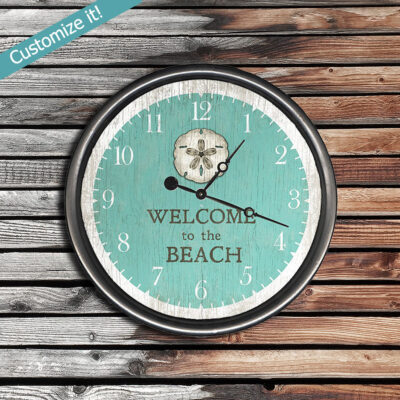 Welcome to the Beach Wood Clock, Personalized Clock, Beach House Decor, Coastal Artwork