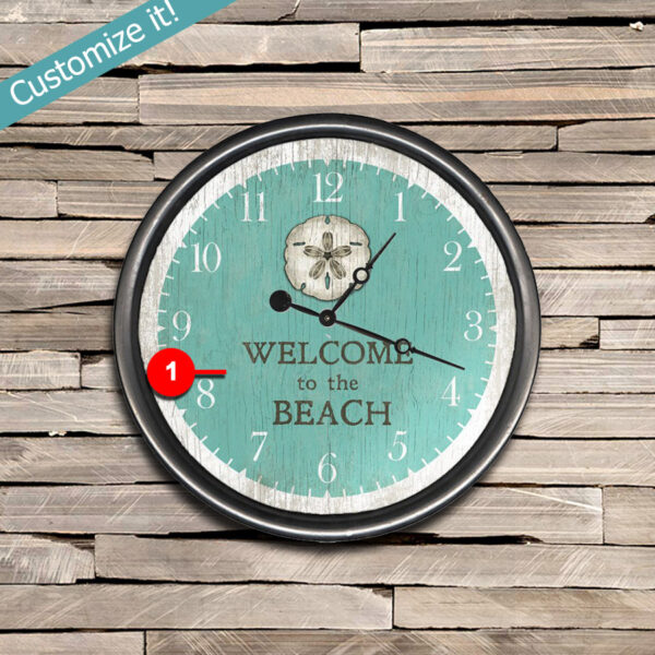 Welcome to the Beach Sign printed on Clock