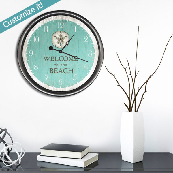 Welcome to the beach coastal clock sand dollar artwork