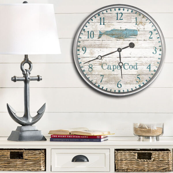 Personalized Cape Cod Clock, Vintage Whale Wall Art,