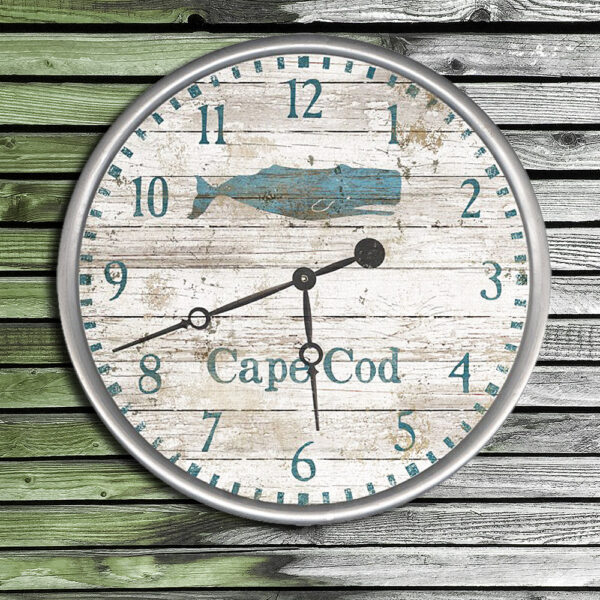 Cape Cod Clock, Whale Clock, Personalized Beach House Decor, Nautical Whale Gifts