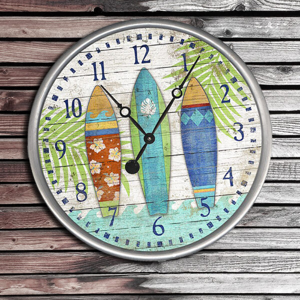 Coastal Decor, Wooden Nautical Clock Face, Gifts for Surfers