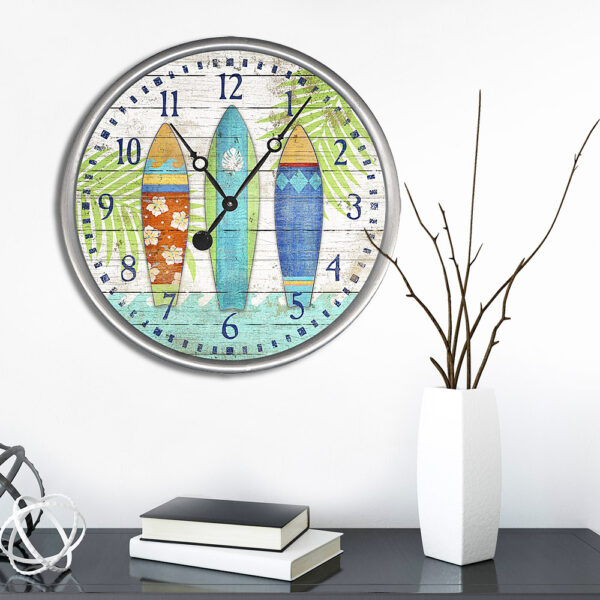 Surfboard Art printed on Wooden Clock, Coastal Decor
