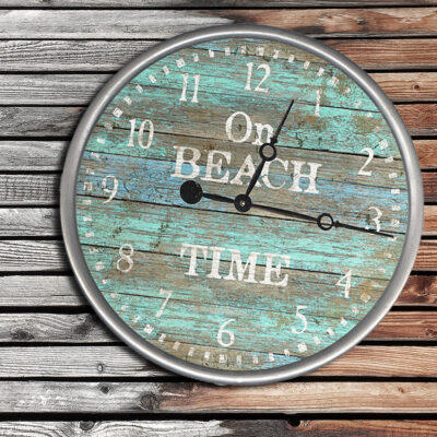 Personalized On Beach Time Wooden Clock