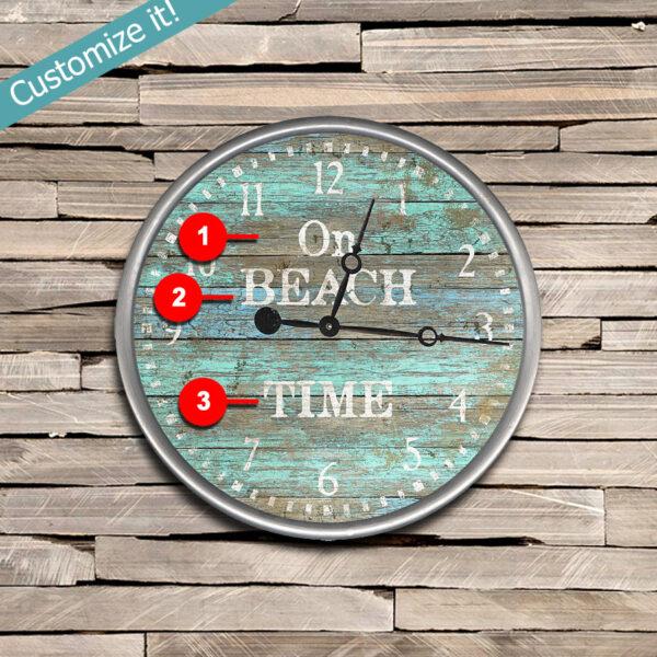 On Beach Time Clock, Personalized Nautical Coastal Decor