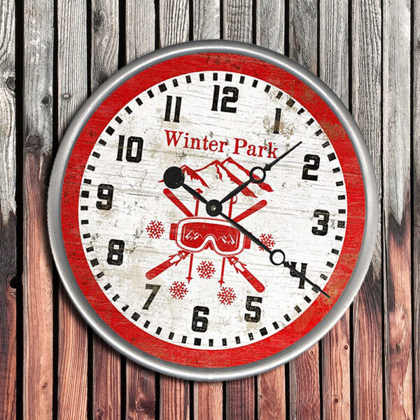 Personalized WInter Park CO Ski Goggle Clock, Gift for Skiers, Skiing Decor