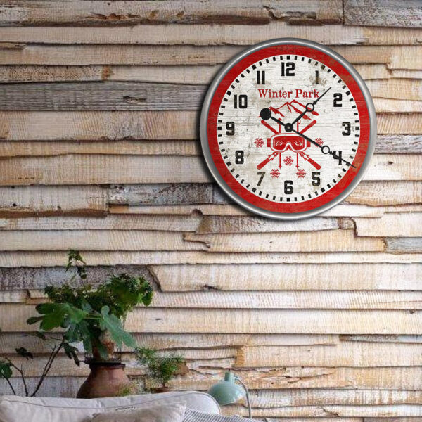 Custom Ski Cabin Decor - Wooden Winter Park CO Clock