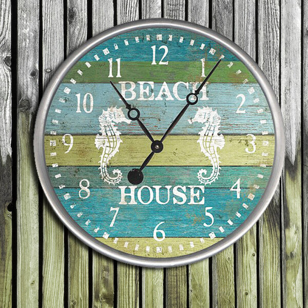 Beach House Wood Clock, Nautical Decor, Personalized Clock